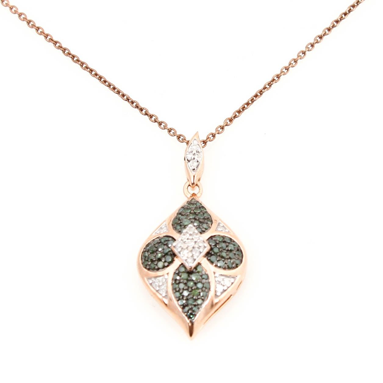 Rose Gold on Sterling Silver and Diamond Necklace