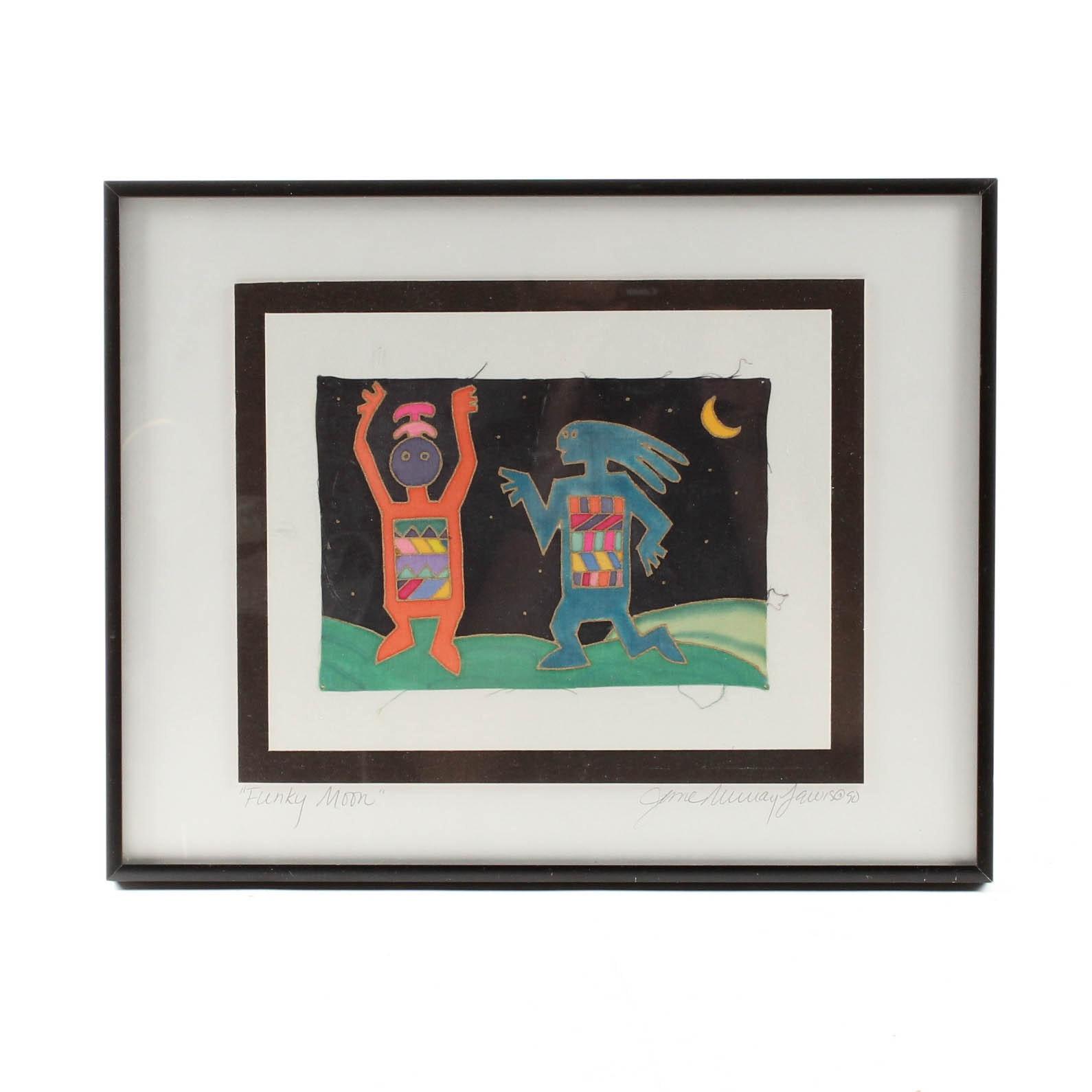 "Jane Murray Jamison 1990 Textile Painting ""Funky Moon"""