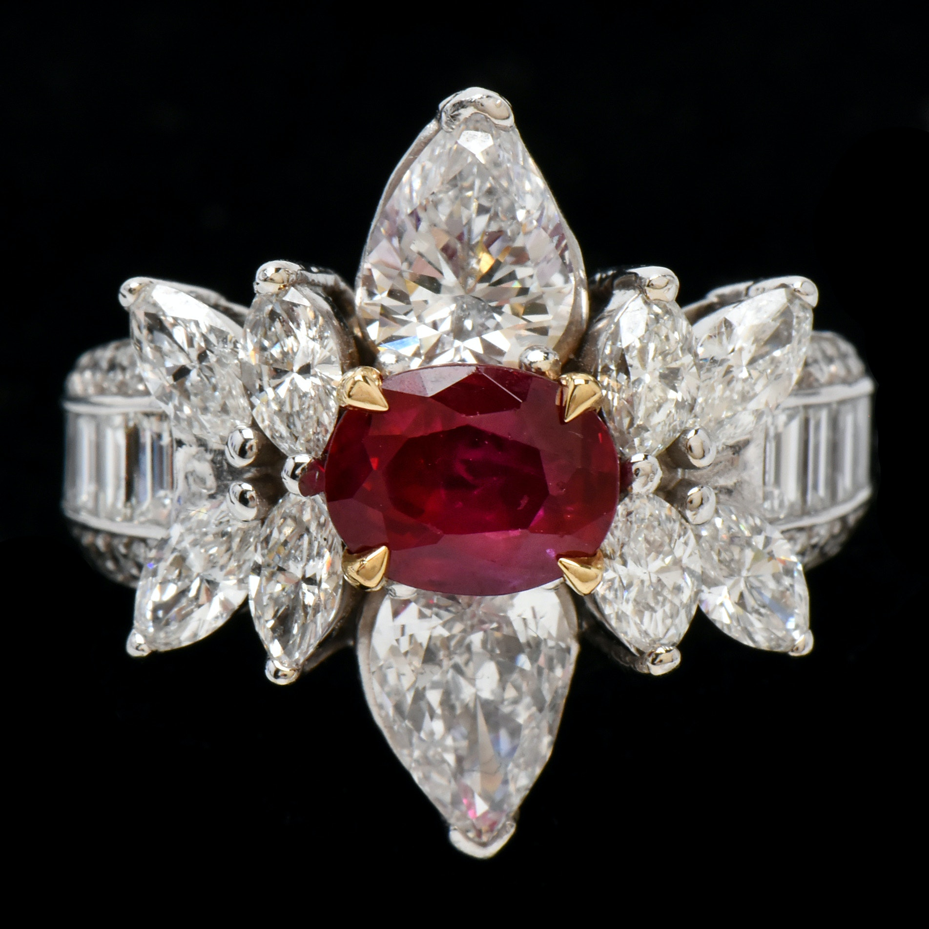 14K White Gold 2.00 CT Burmese Ruby and 4.32 CTW Diamond Ring with GIA Report