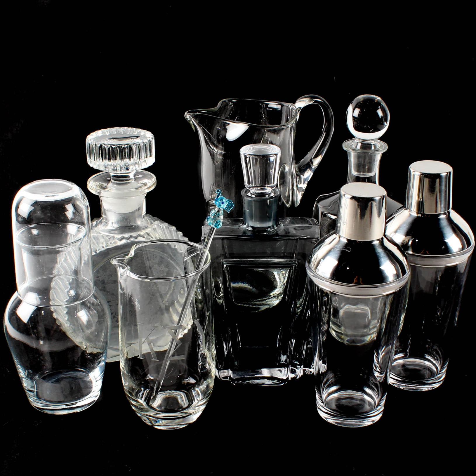 Glass Decanters and Bar Set
