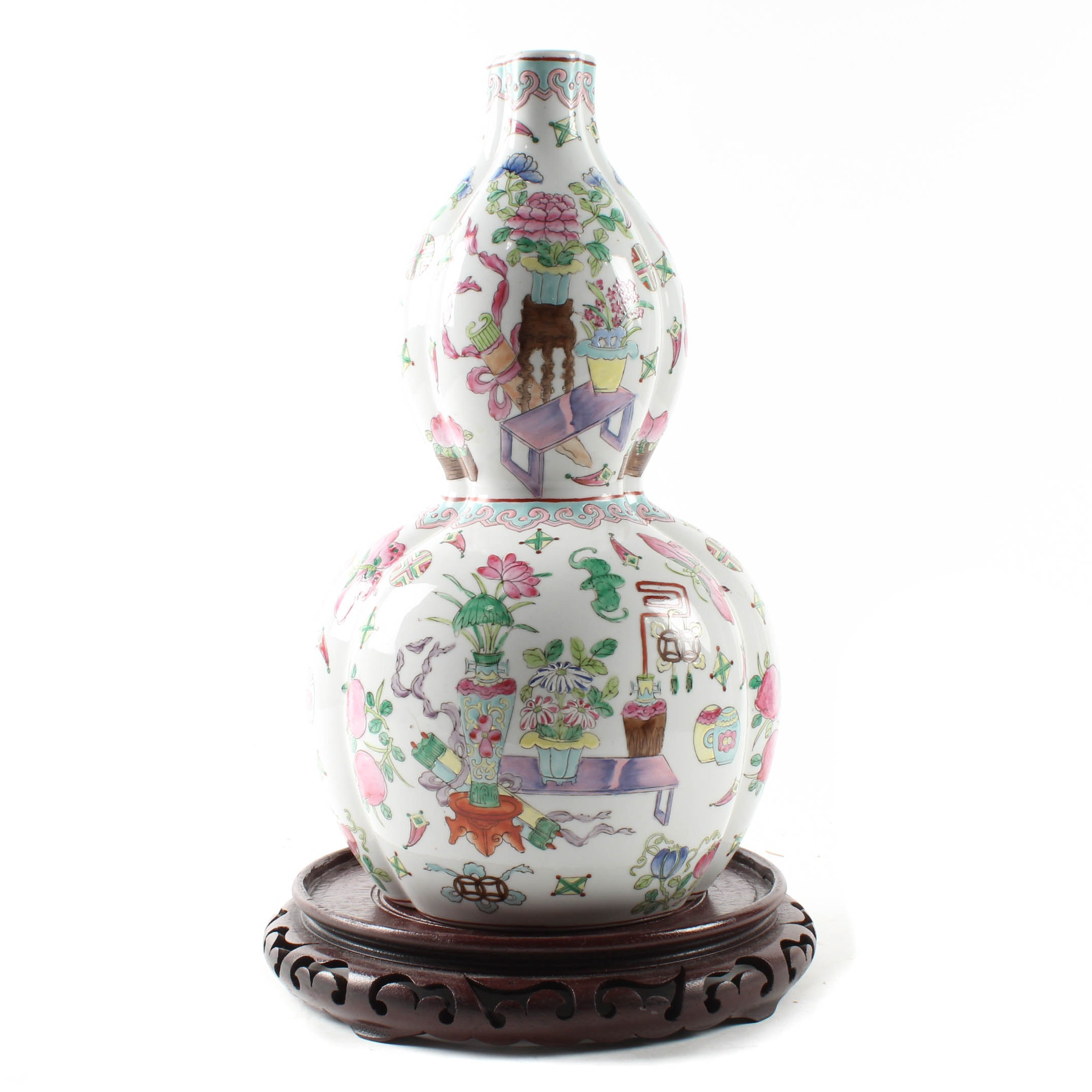 Hand-Painted Chinese Lobed Double-Gourd Vase