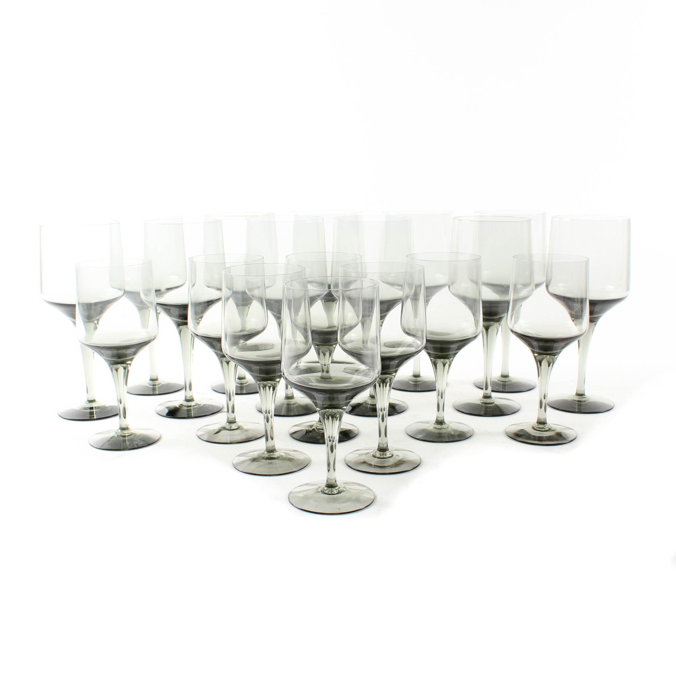 "Orrefors Crystal ""Rhapsody Smoke"" Wine Glasses"