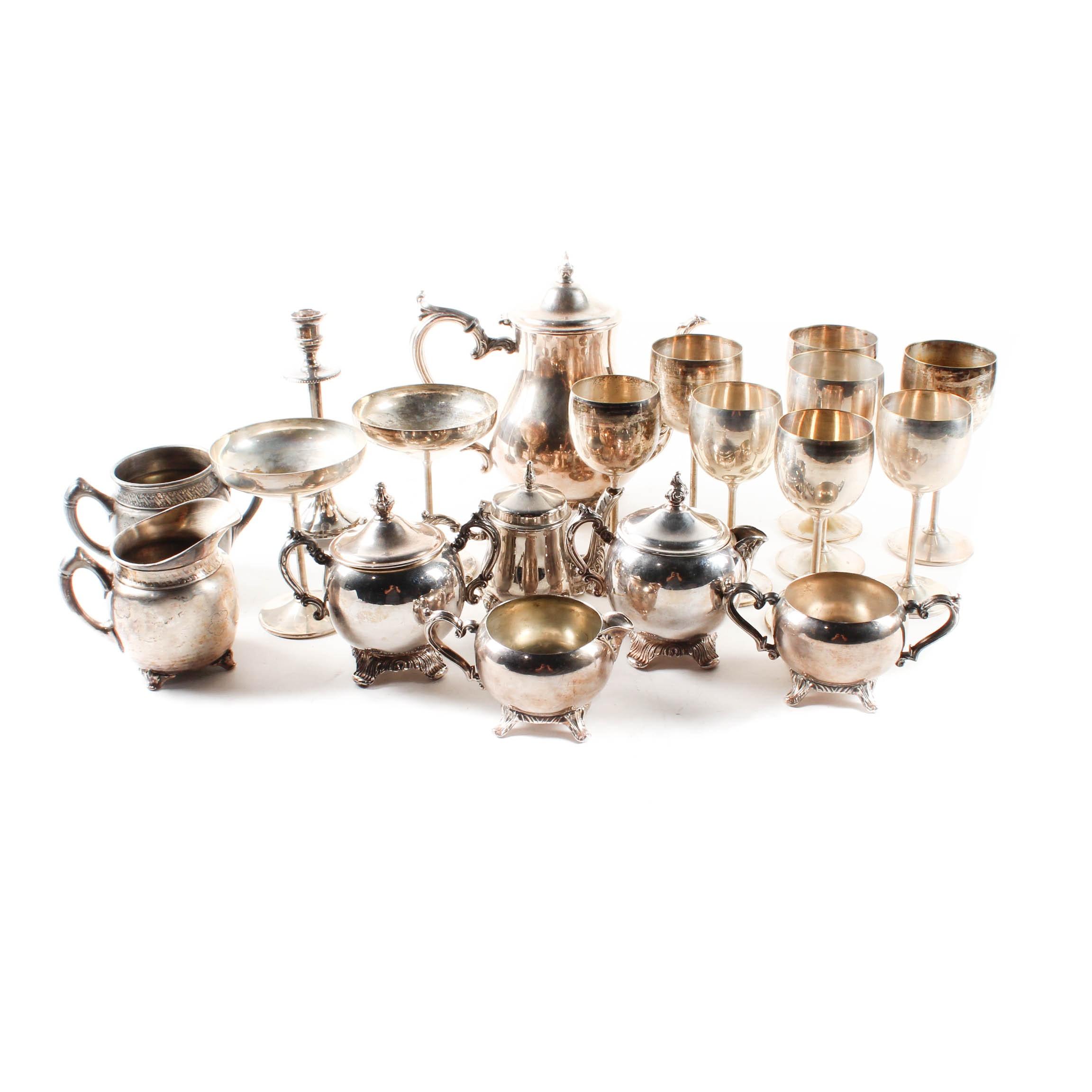 Silver Plate Stemware and Tableware