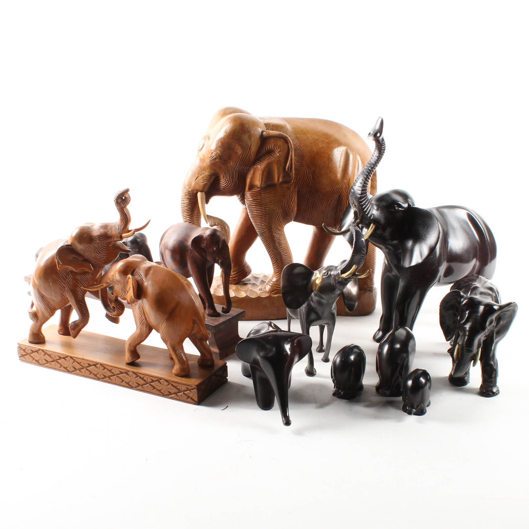 Metal and Carved Wood Sculptures of Elephants