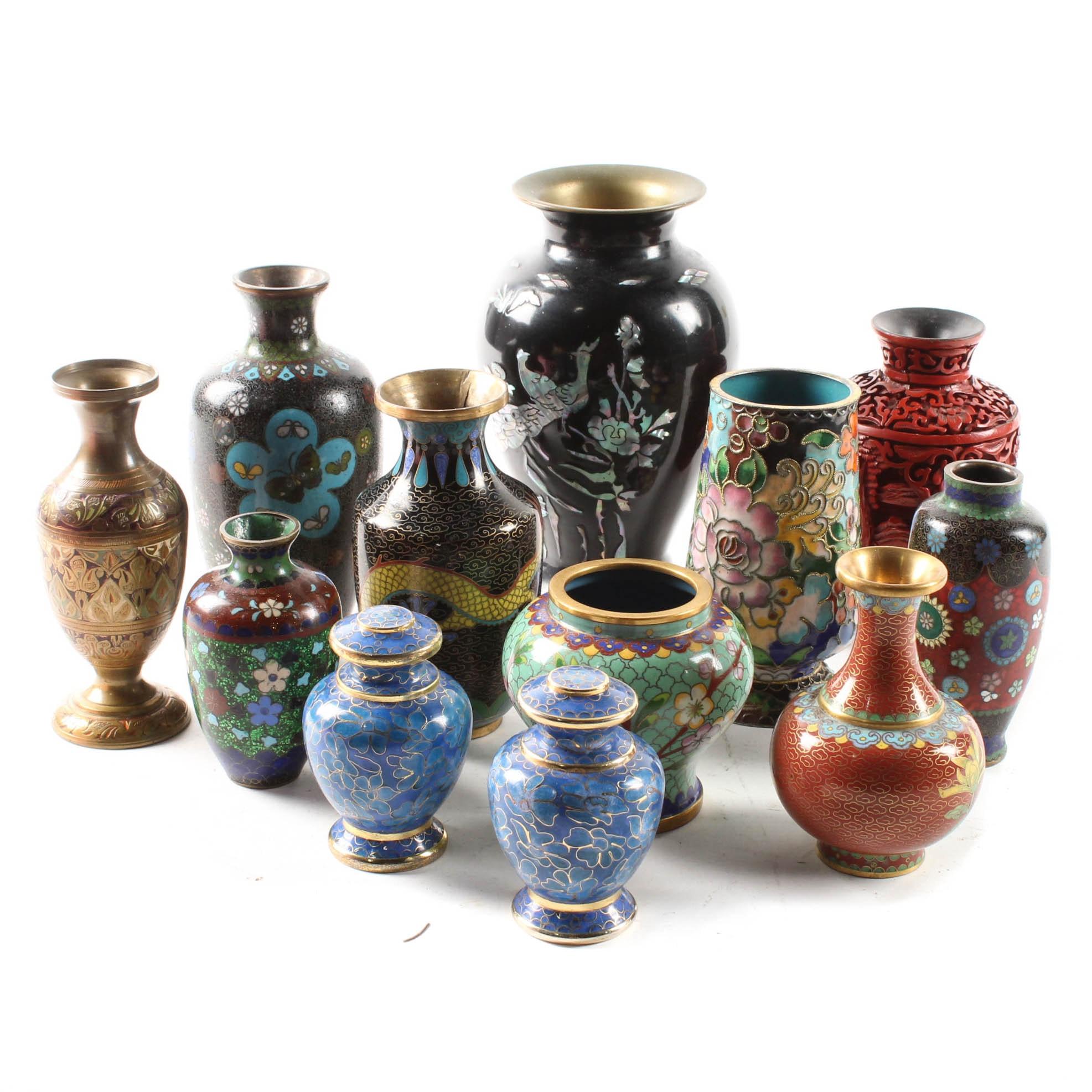 East Asian Miniature Cloisonne Vases