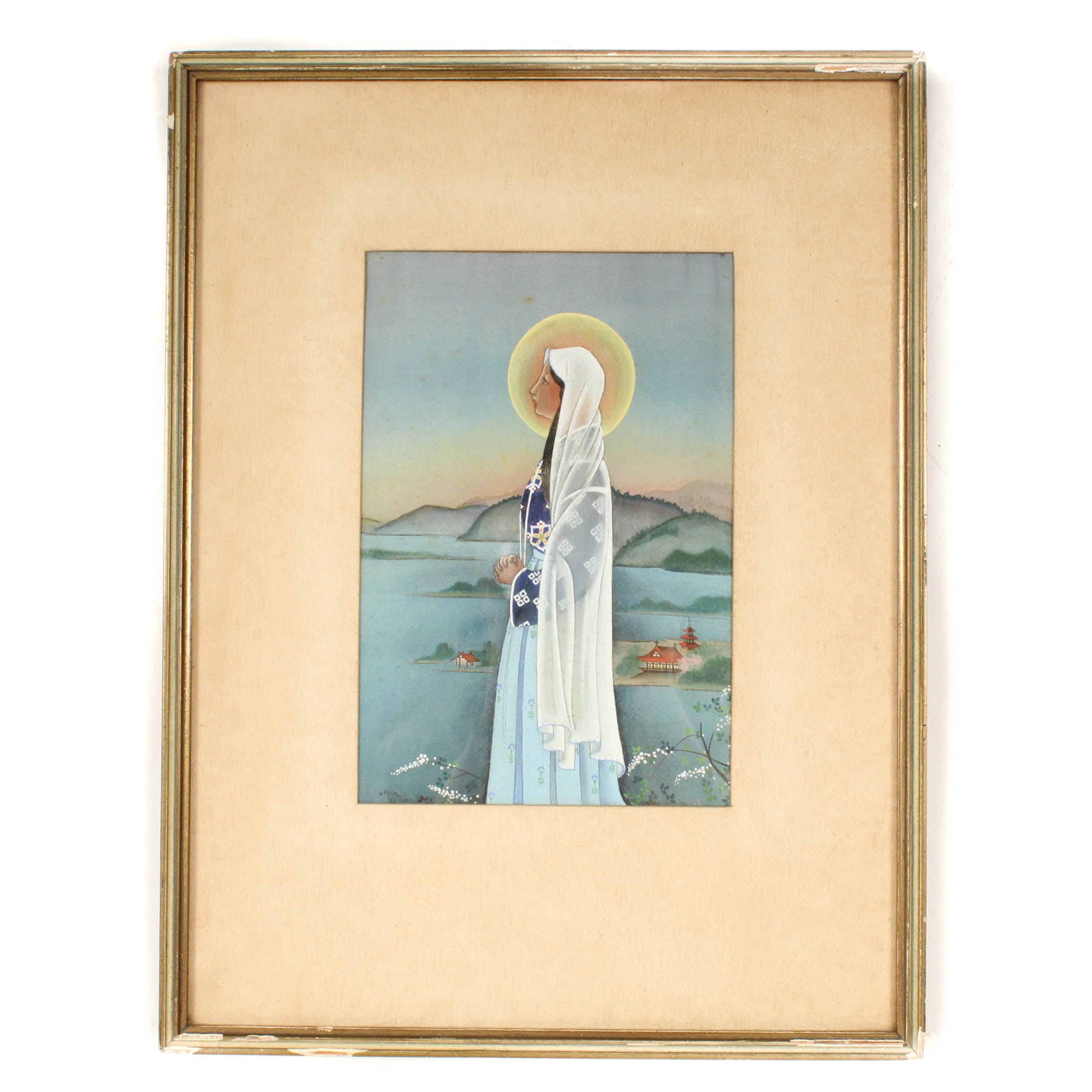 N. Ryuku by Toda Vintage Japanese Gouache on Silk Painting of the Virgin Mary