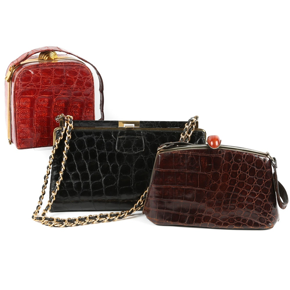 Vintage 1950s Alligator Skin Handbags from Cuba, England and Germany