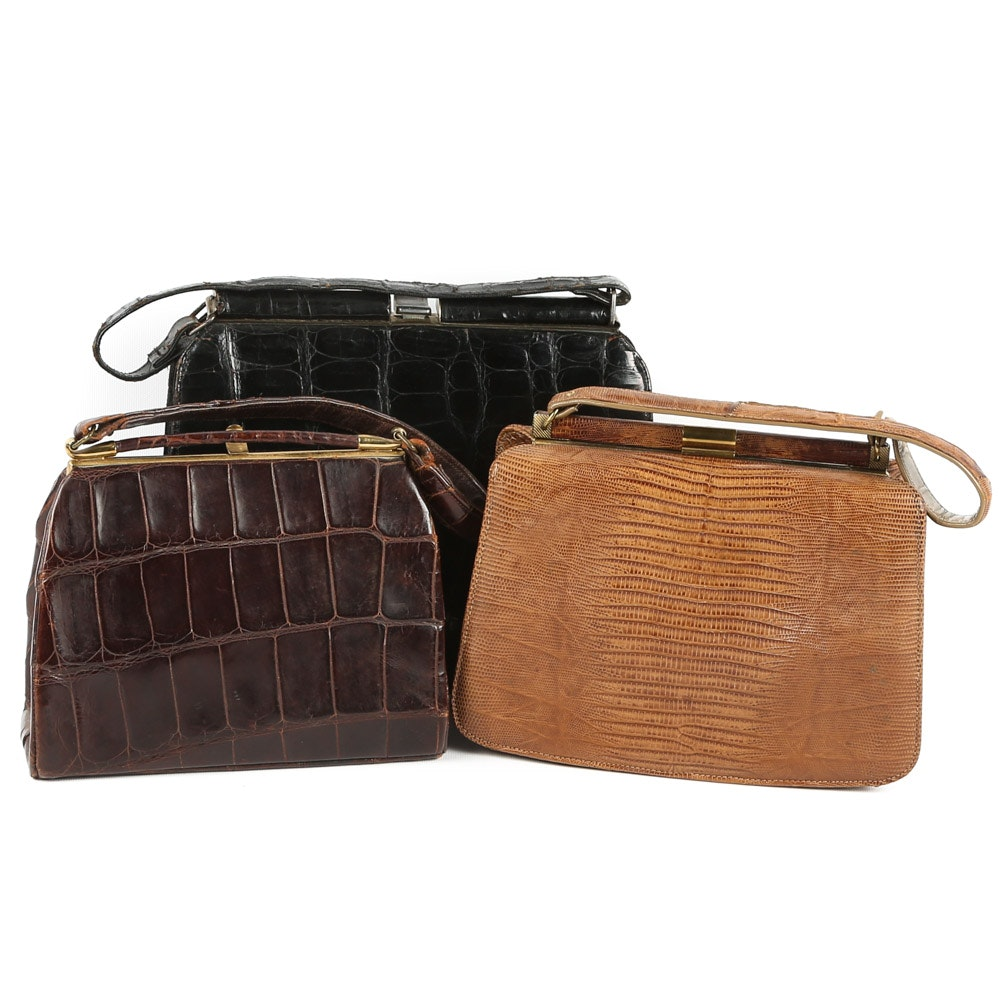 Vintage 1950s Alligator and Lizard Skin Framed Handbags featuring Palizzio