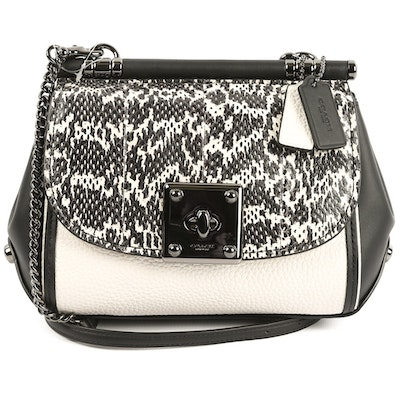 81fc6b4ec193 MICHAEL Michael Kors Black Pony Hair and Embossed Leather Foldover  Crossbody Bag. Final Bid. $55. Ended. Coach Drifter Chalk and Black Leather  Crossbody
