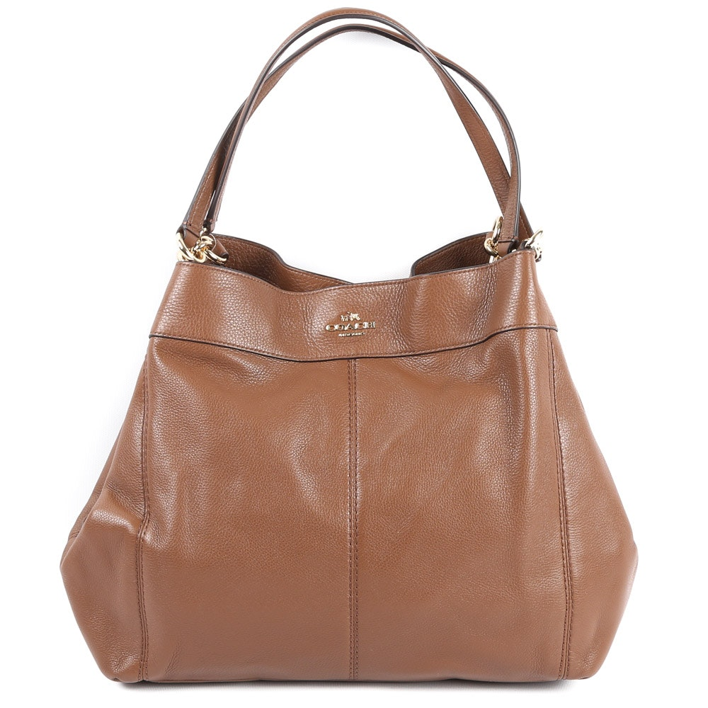 Coach Lexy Saddle Brown Pebbled Leather Shoulder Bag