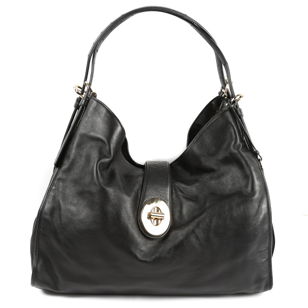 Coach Madison Carlyle Black Leather Hobo Bag