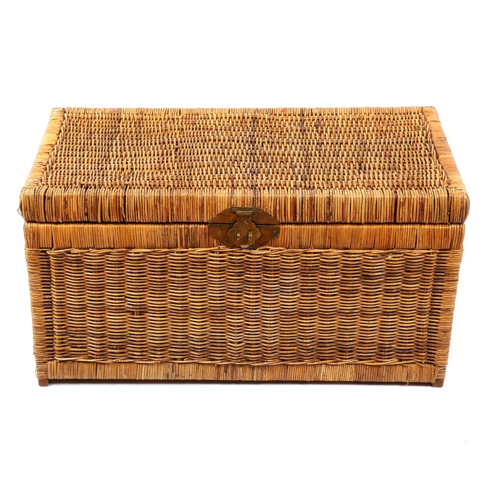 Vintage Asian Style Wicker Trunk