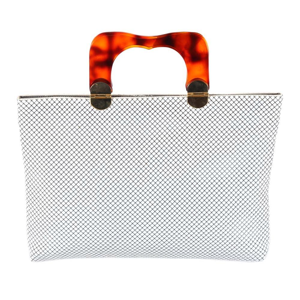 Whiting and Davis White Mesh Handbag with Acrylic Handle