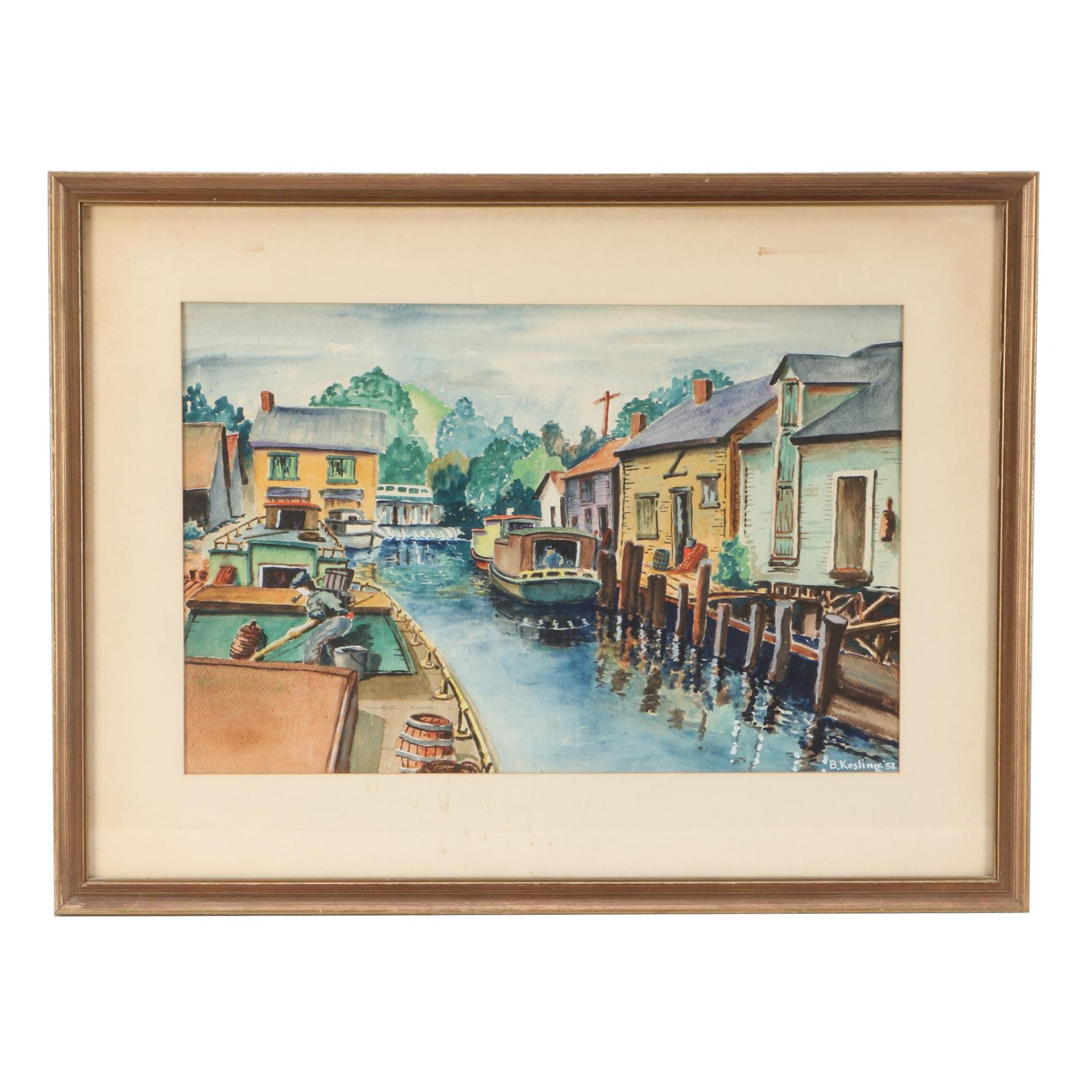 B. Kesling Vintage Watercolor Painting of  Boats at Dock