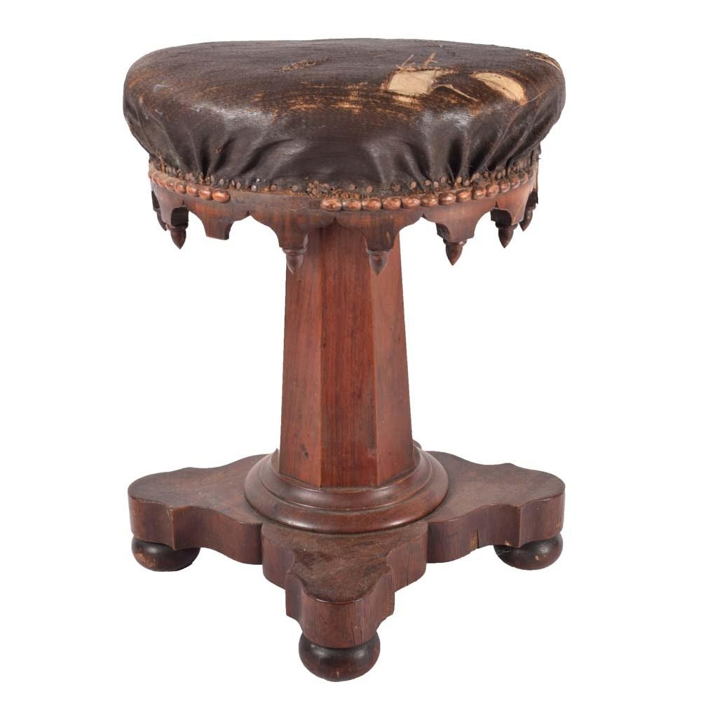 Mid-19th Century Victorian Walnut Piano Stool