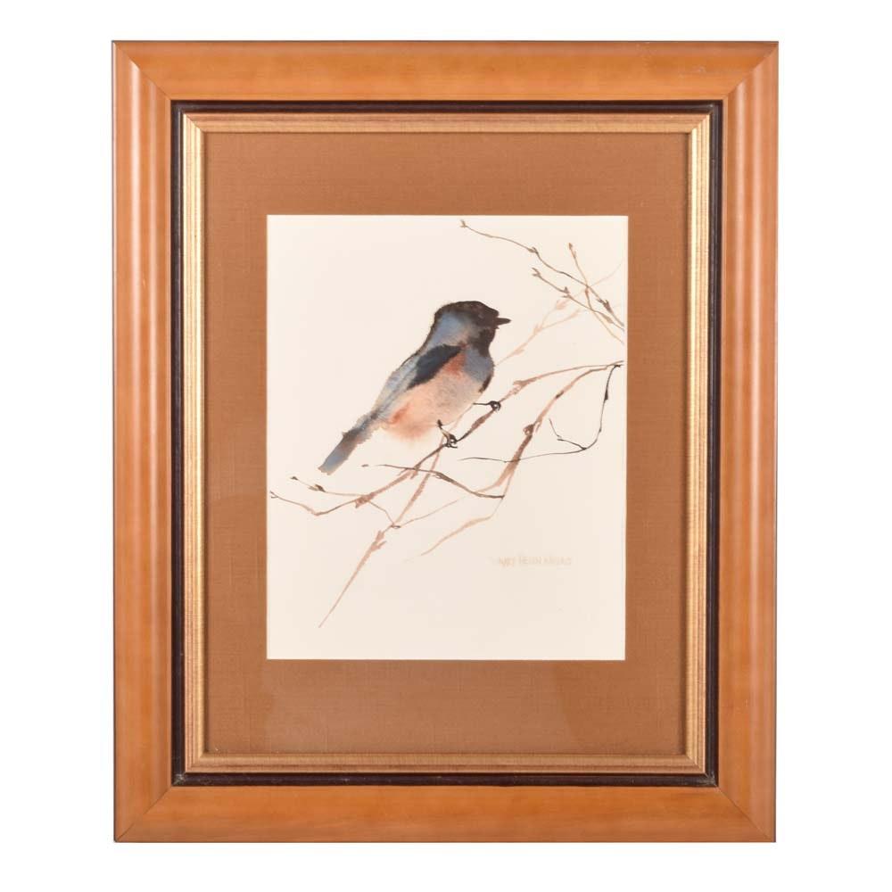 Mary Helen Wallace Watercolor of a Bluebird