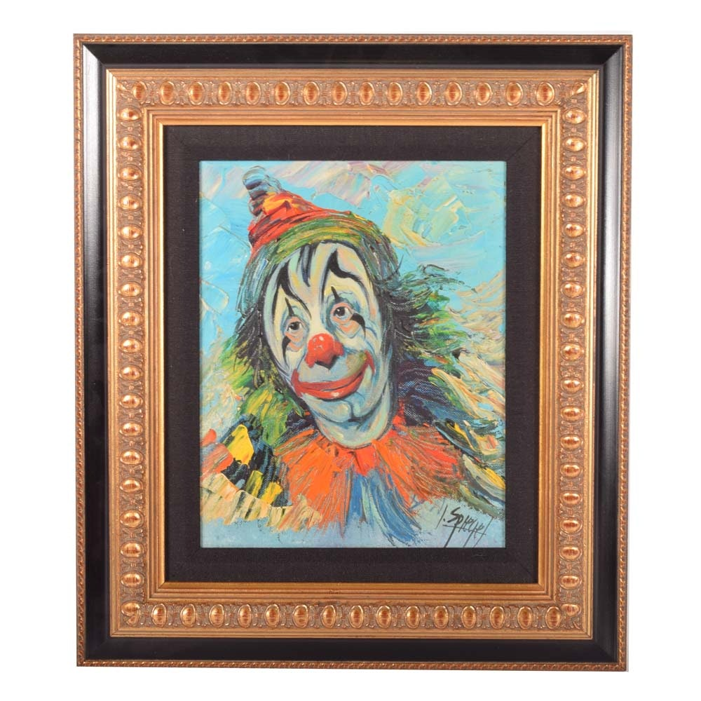 Louis Spiegel Mixed Media Painting of a Clown