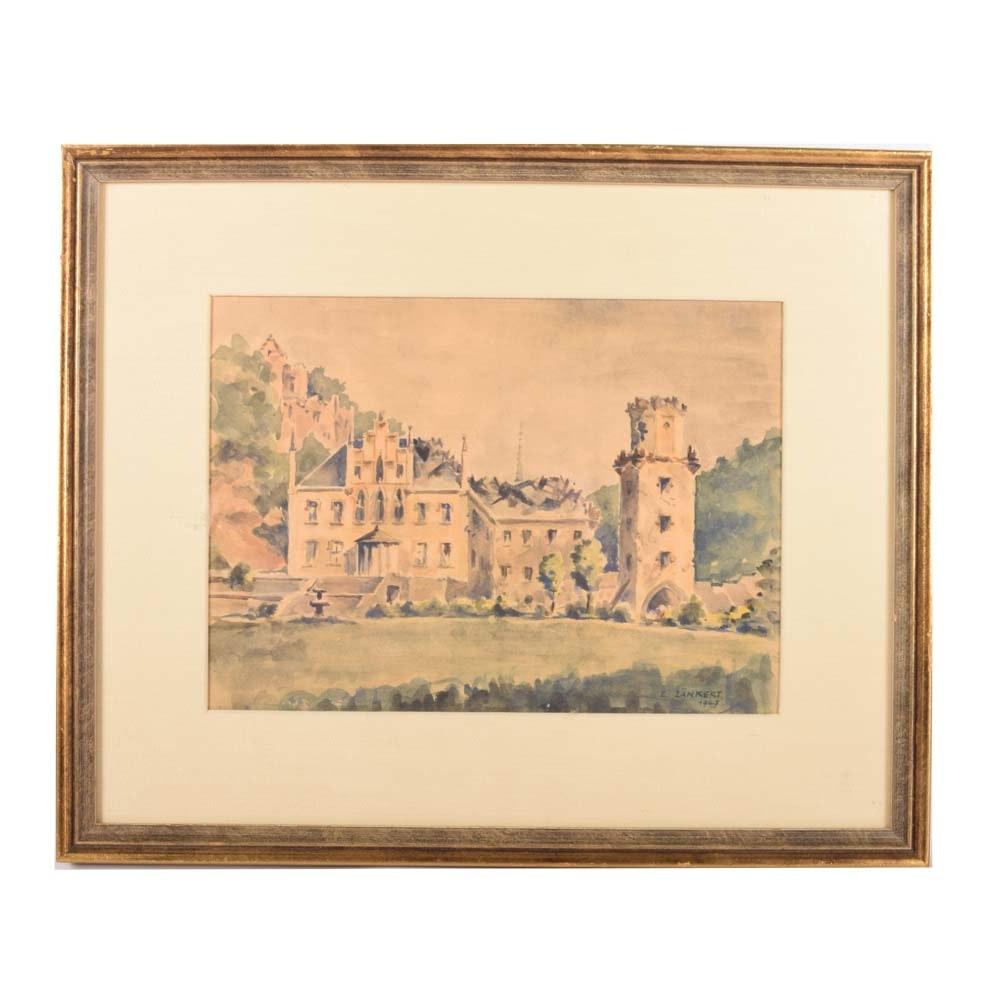Vintage E. Zänkert Watercolor of a Castle