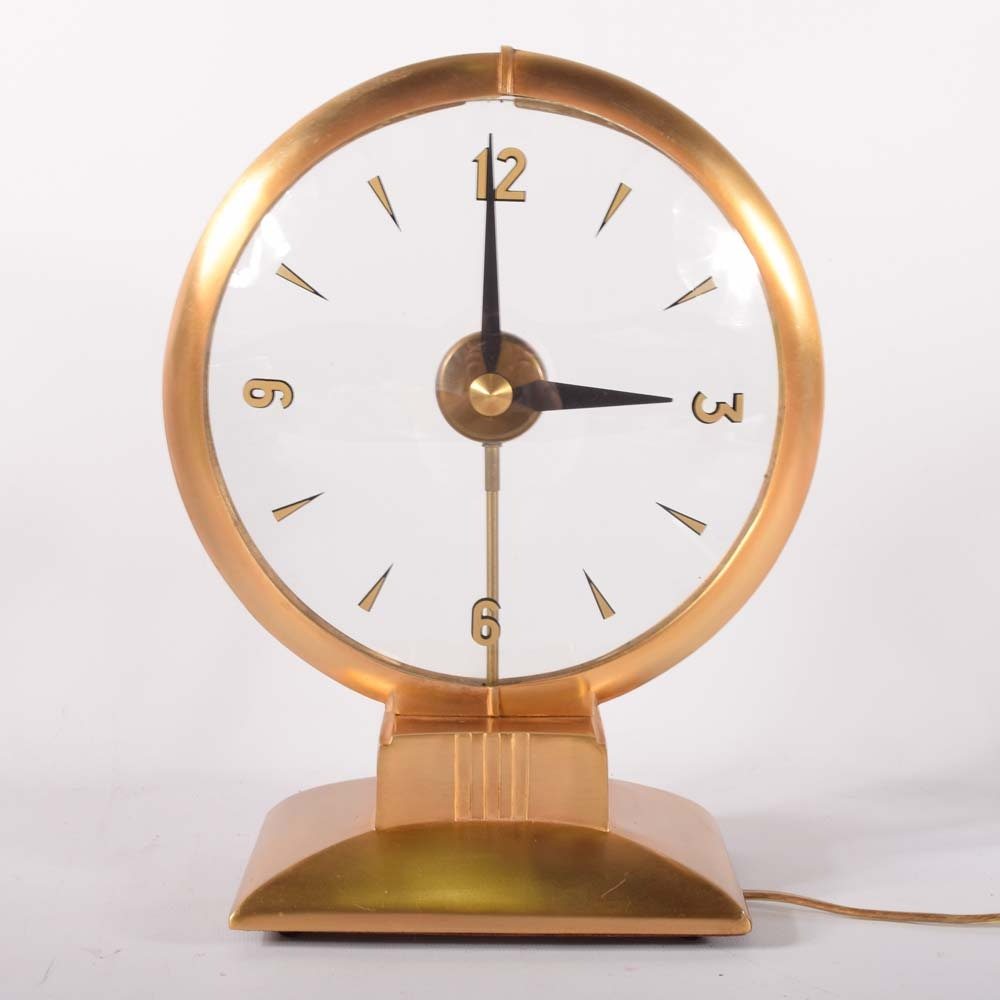 Mid-Century Haddon Lighted Hour Brass Desk Clock