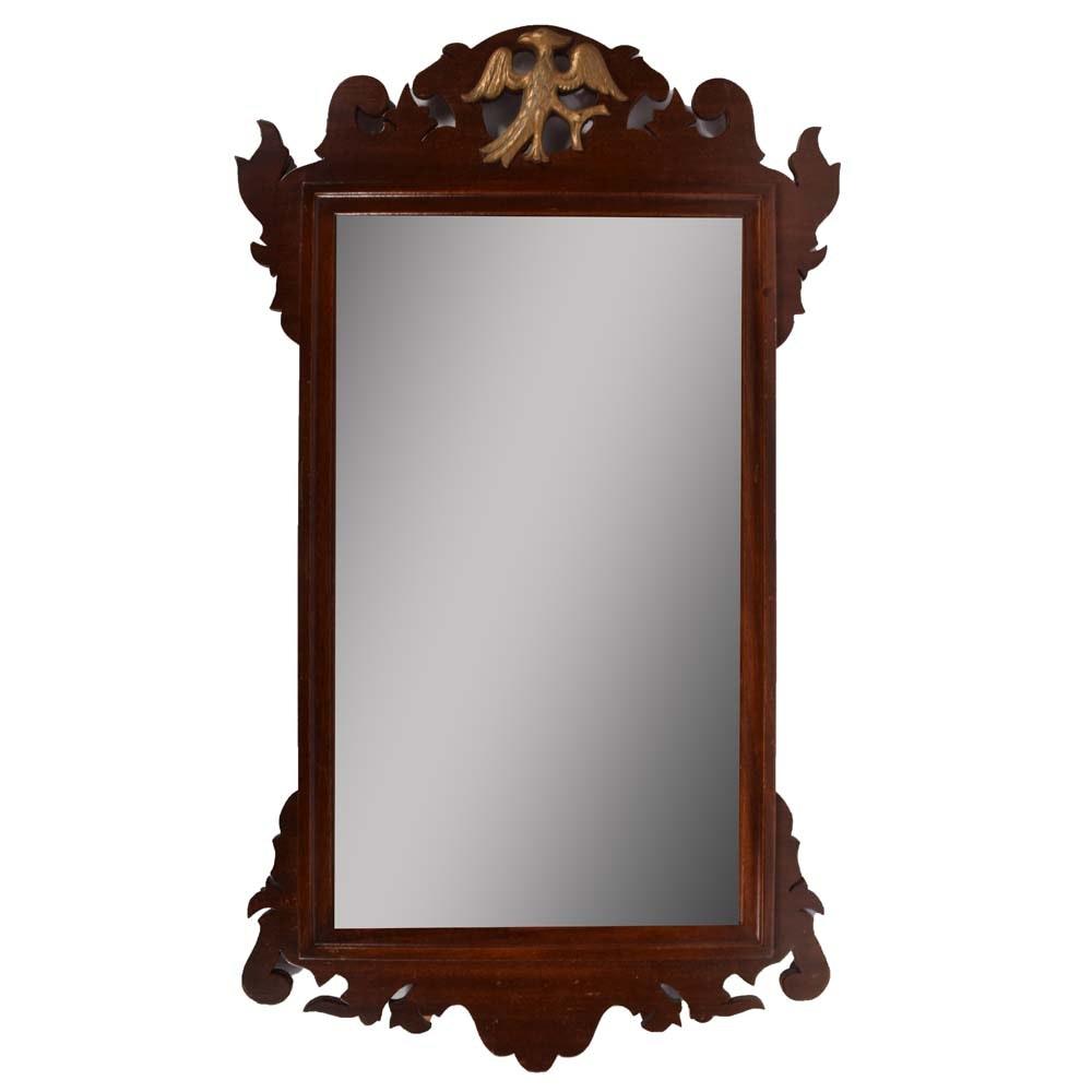 Vintage Cherry Brass Eagle Medallion Wall Mirror