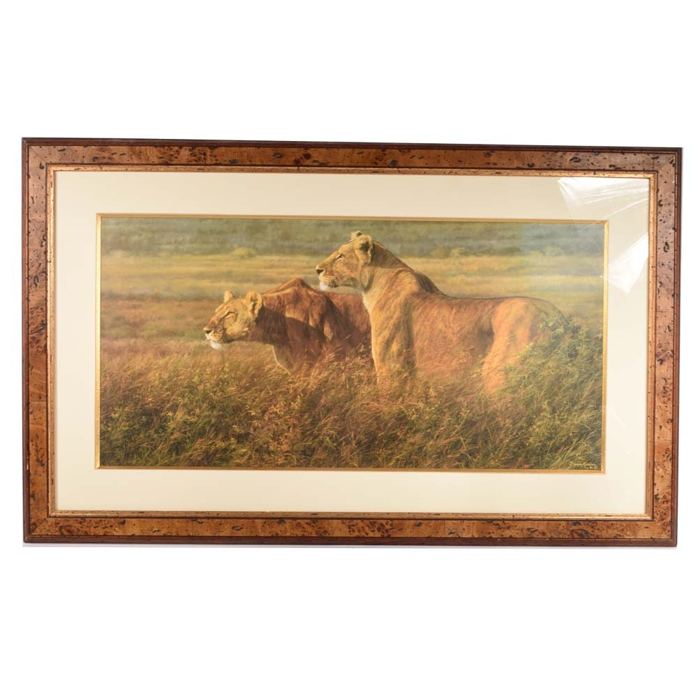 Contemporary Offset Lithograph of Lions