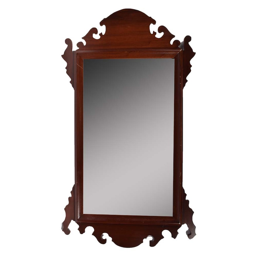 Cherry Finish Bevelled Wall Mirror Ebth