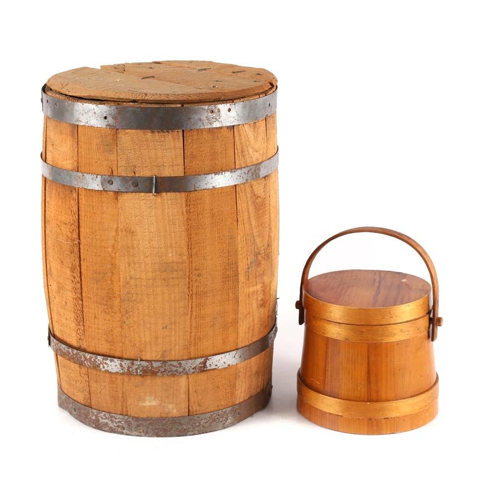 Primitive Home Decor including Oak Barrel and Firkin Bucket