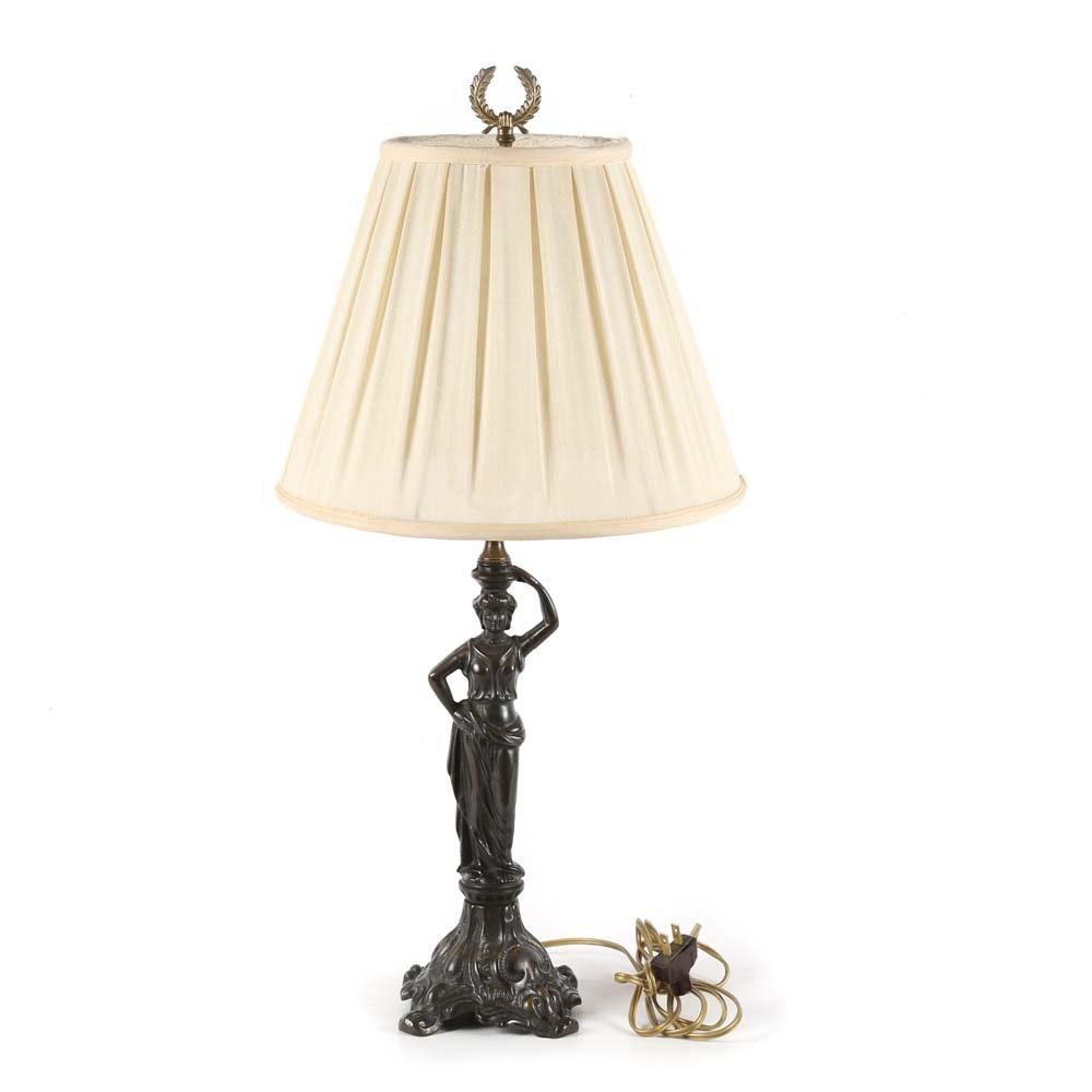 Bronze Art Nouveau Style Table Lamp