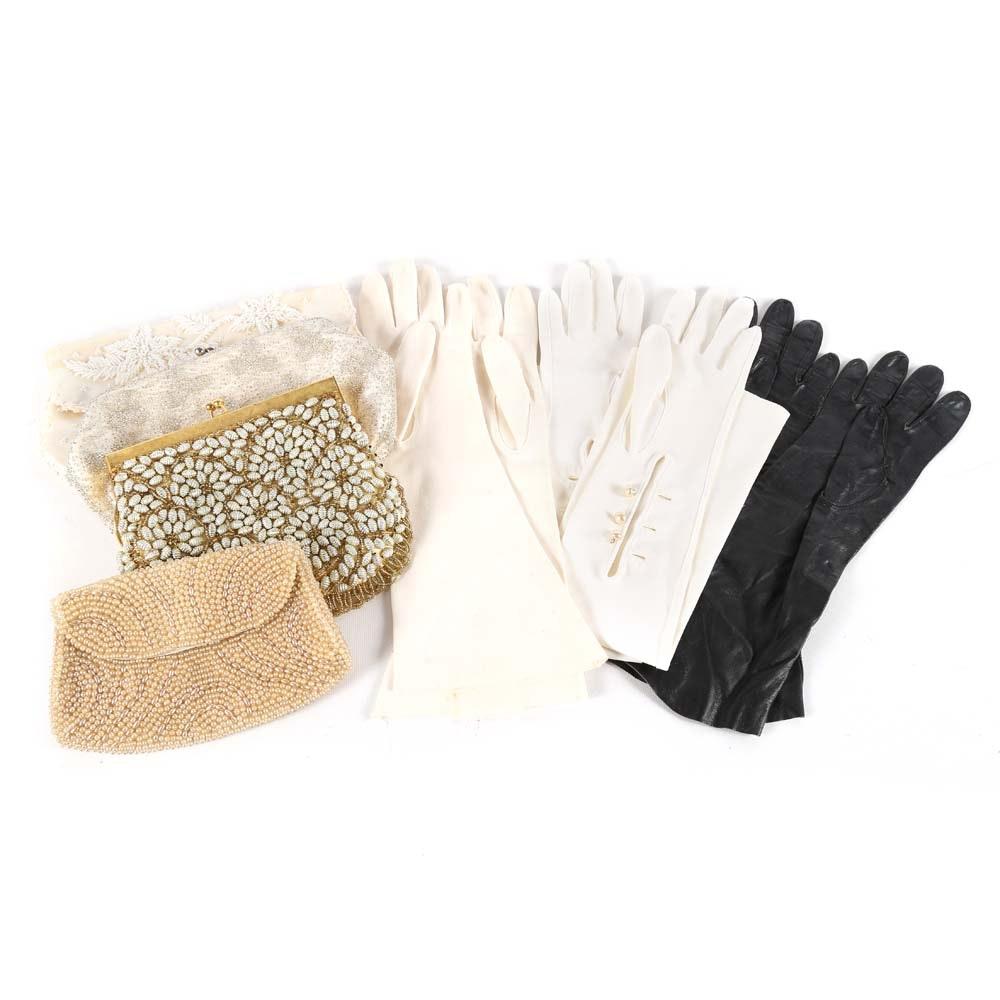 Vintage Ladies Evening Bags and Vintage Gloves