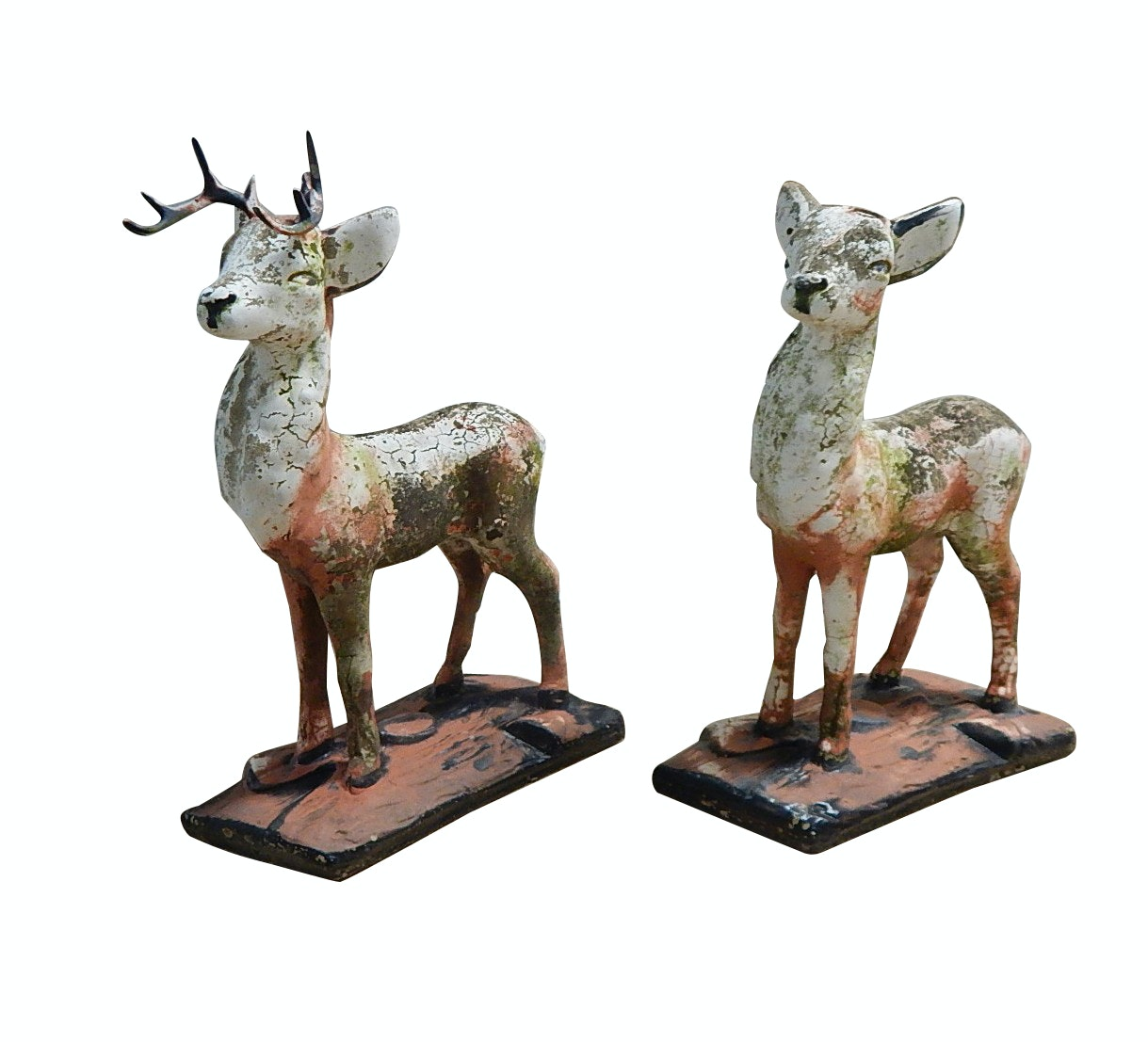 Vintage Outdoor Concrete Doe and Buck Figurines