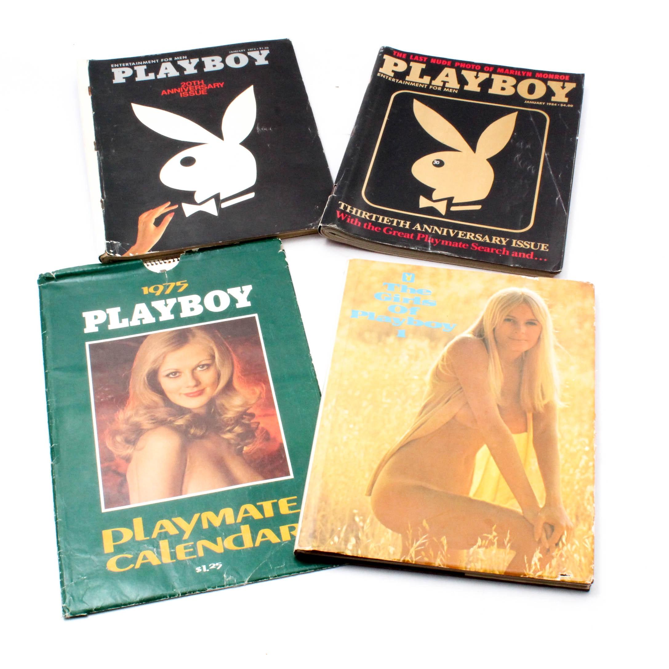 "Vintage ""Playboy"" 1975 Playmate Calendar, Book, and Magazines"