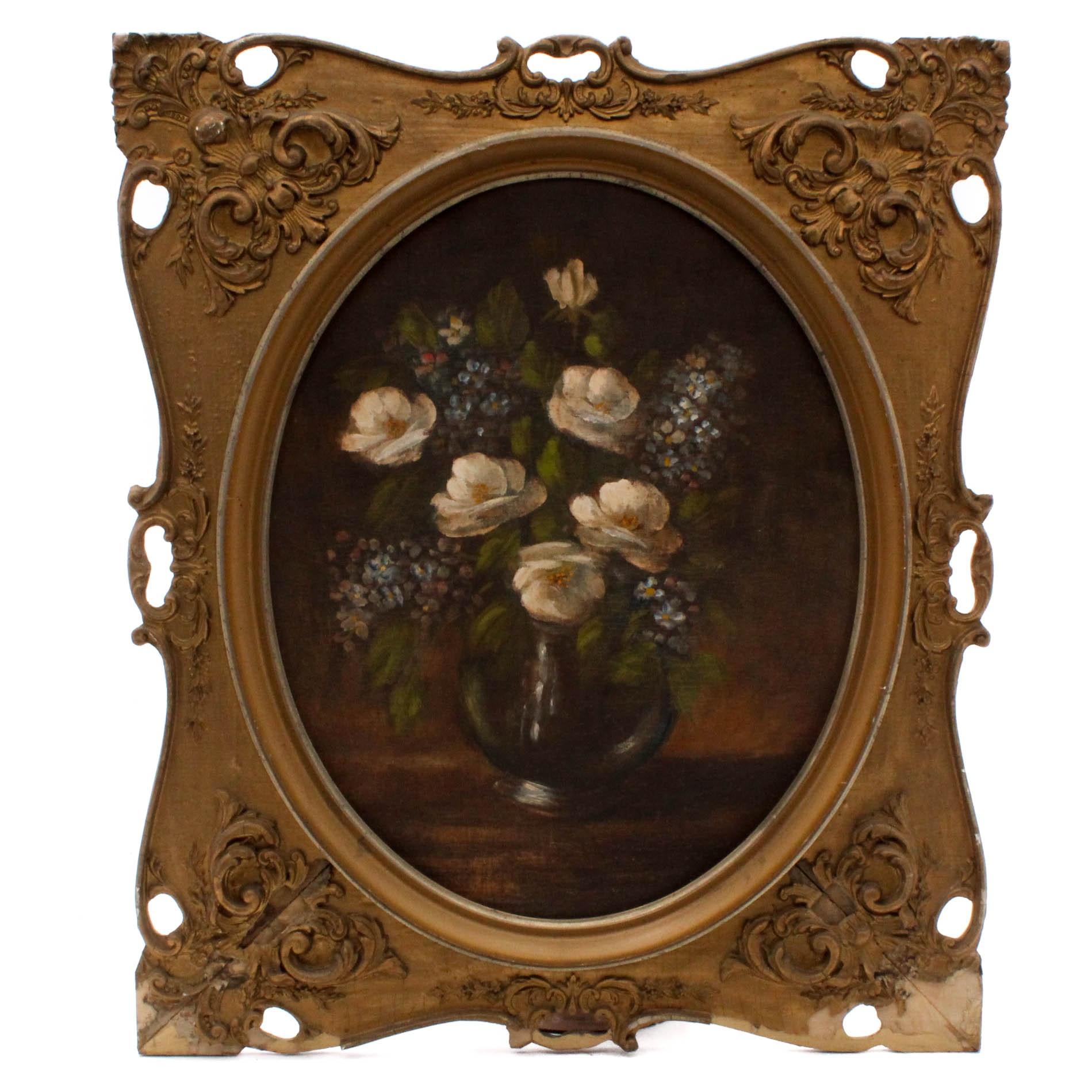 Vintage Oil Floral Still Life