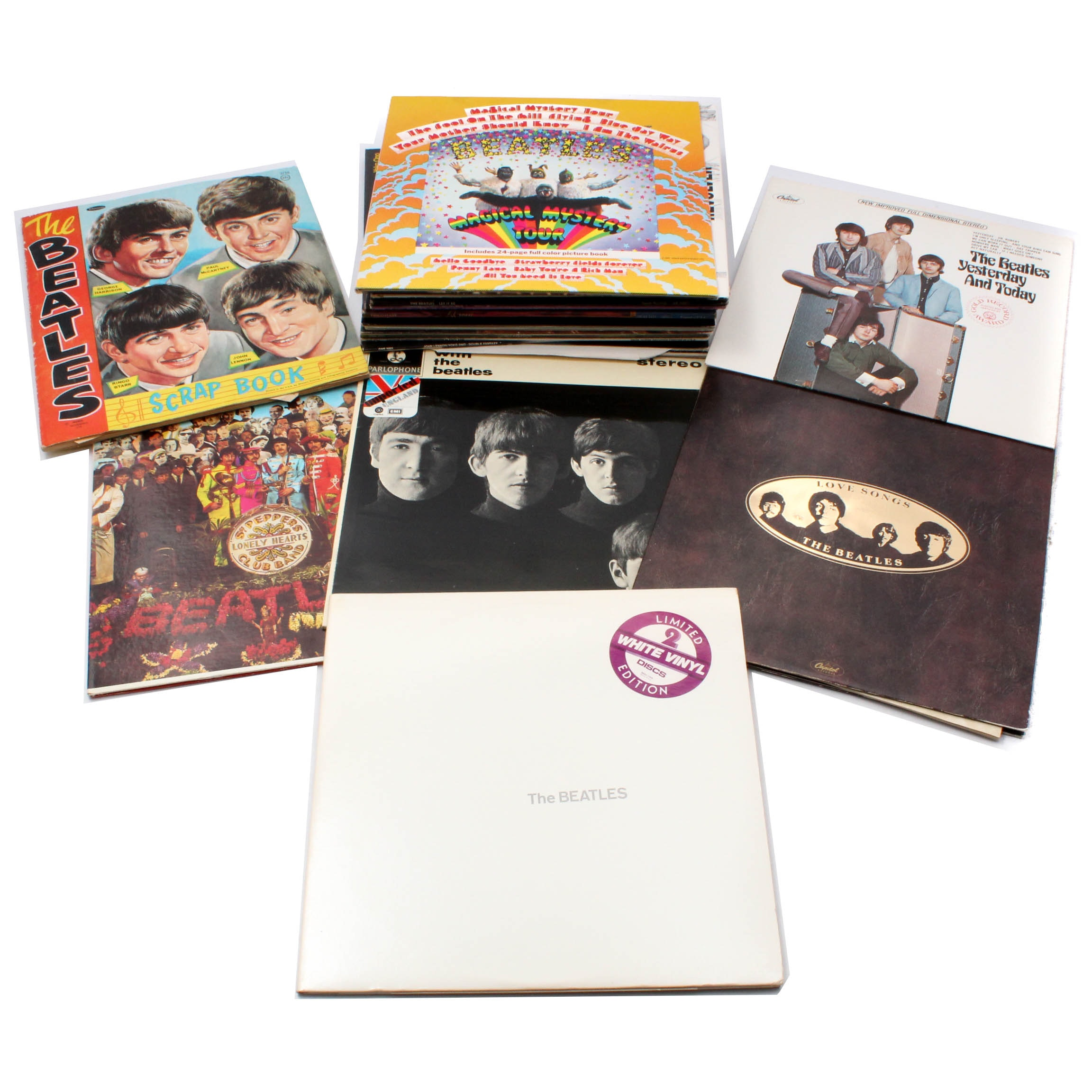 "Beatles Scrapbook and Albums With ""White Album"" White Vinyl Edition"