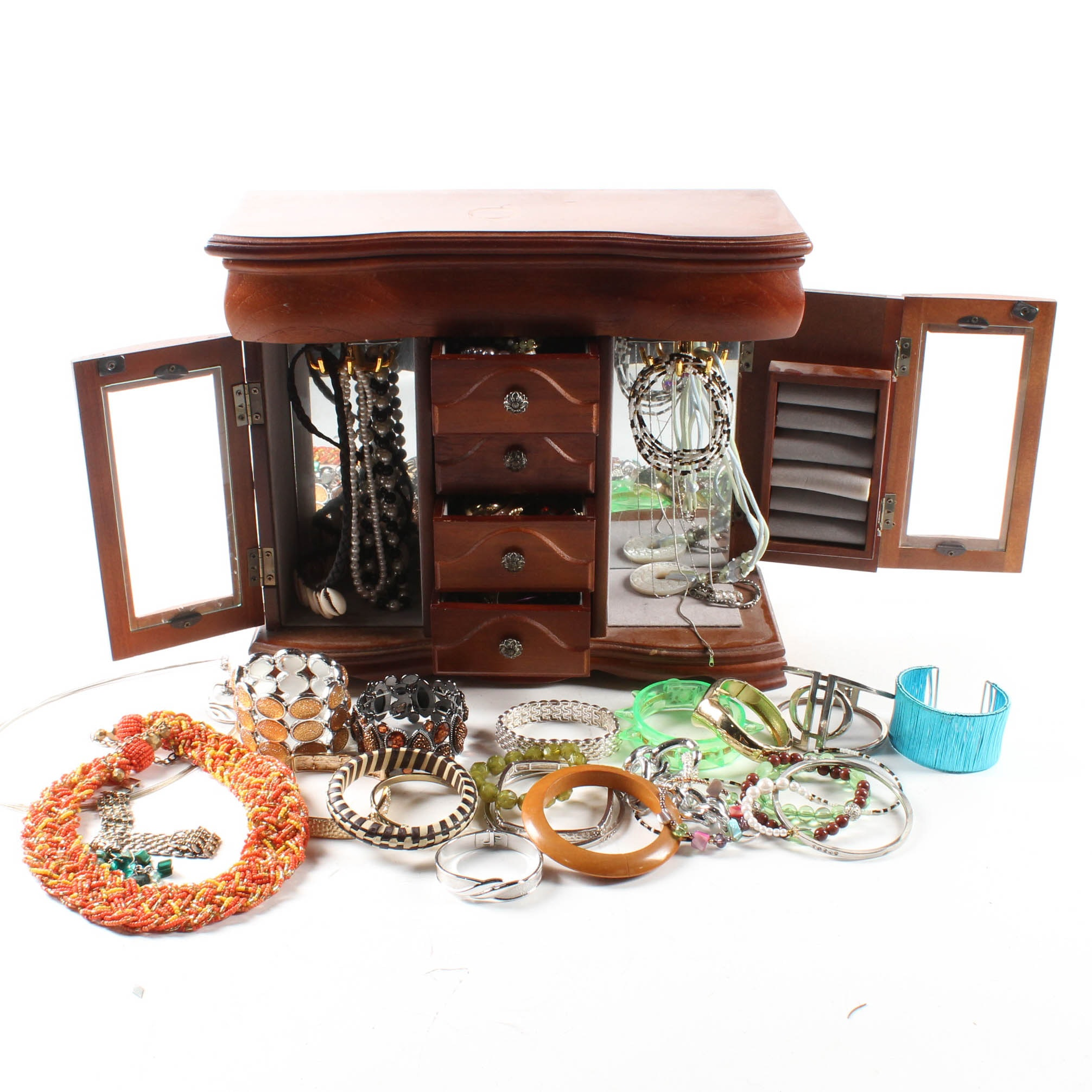 Costume Jewelry Collection with Jewelry Box