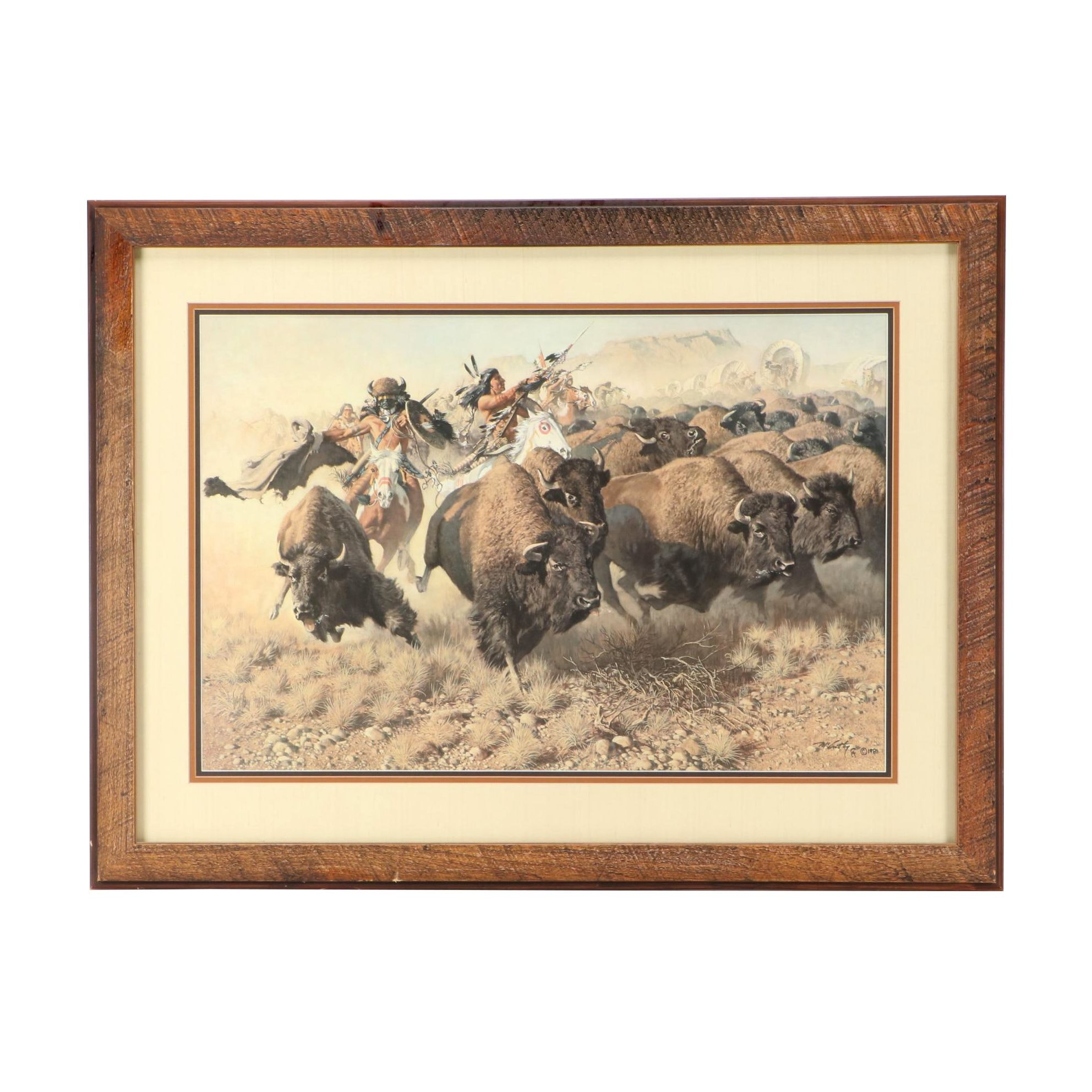 """Offset Lithograph after Frank McCarthy """"Attack on a Wagon Train"""""""
