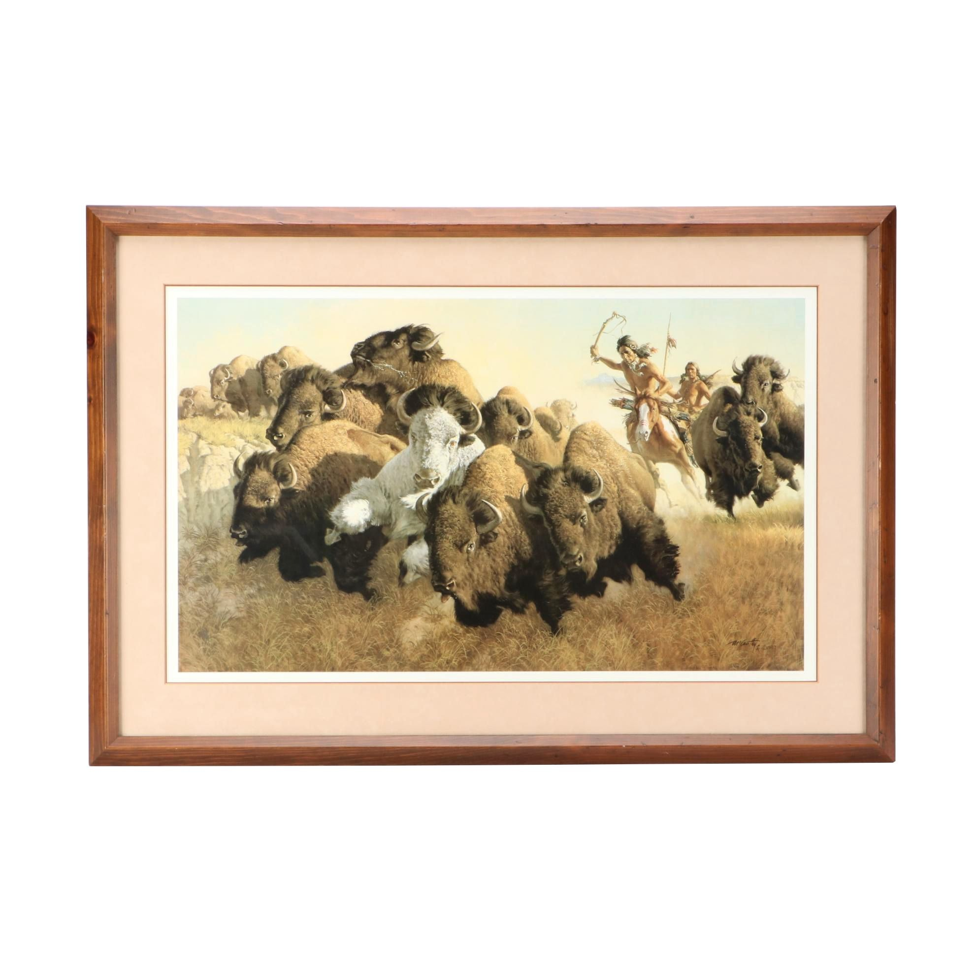 """Offset Lithograph after Frank McCarthy """"In Pursuit of White Buffalo"""""""