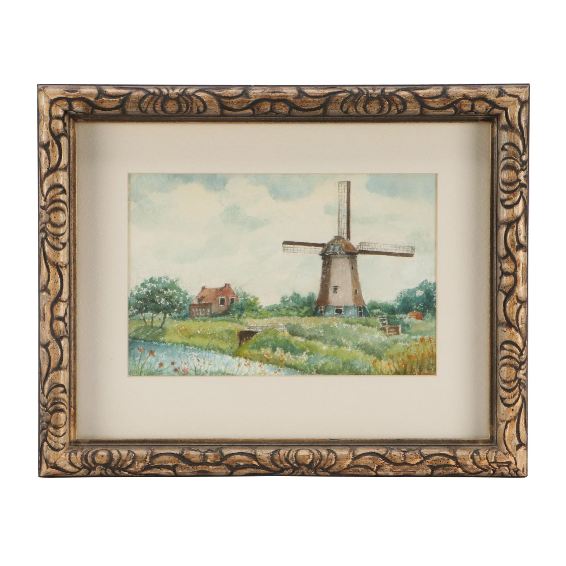 Watercolor Painting of Windmill in Landscape