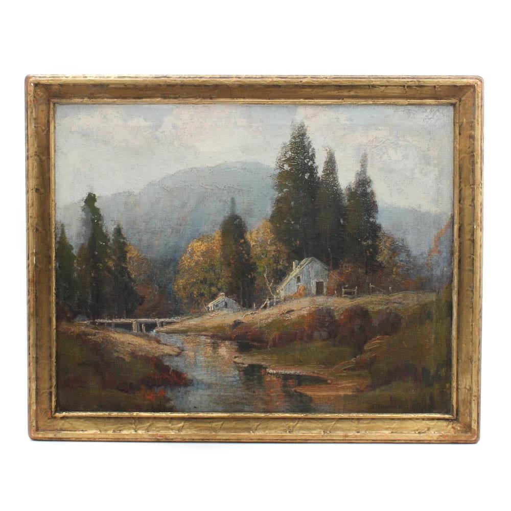 Ernest T. Fredericks 1932 Landscape Oil on Canvas