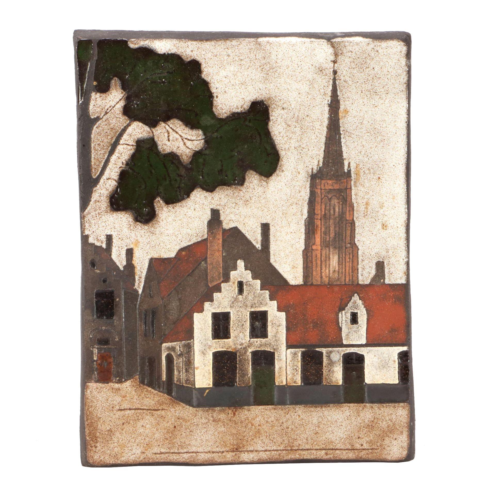 Glazed Ceramic Wall Tile Depicting Bruges, Belgium