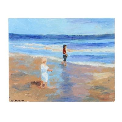 sulmaz h radvand acrylic painting of a beach scene ebth