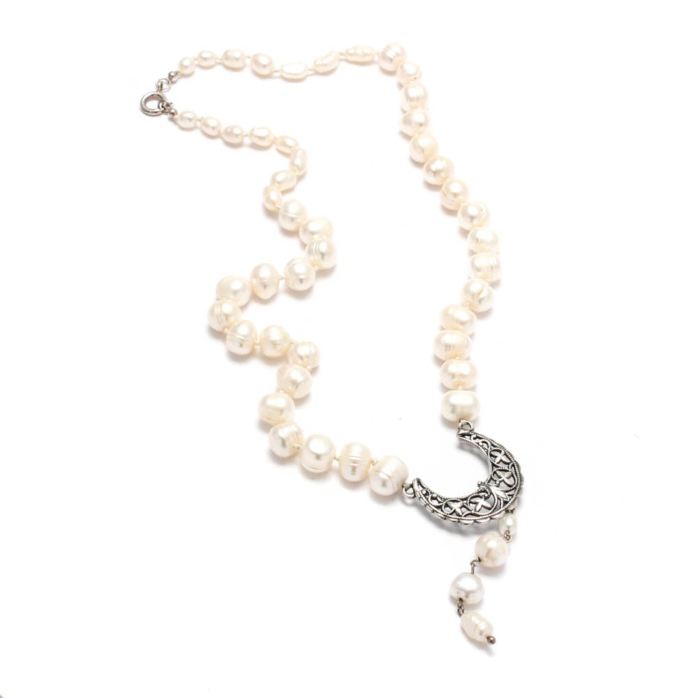 Sterling Silver Freshwater Pearl Necklace Strand
