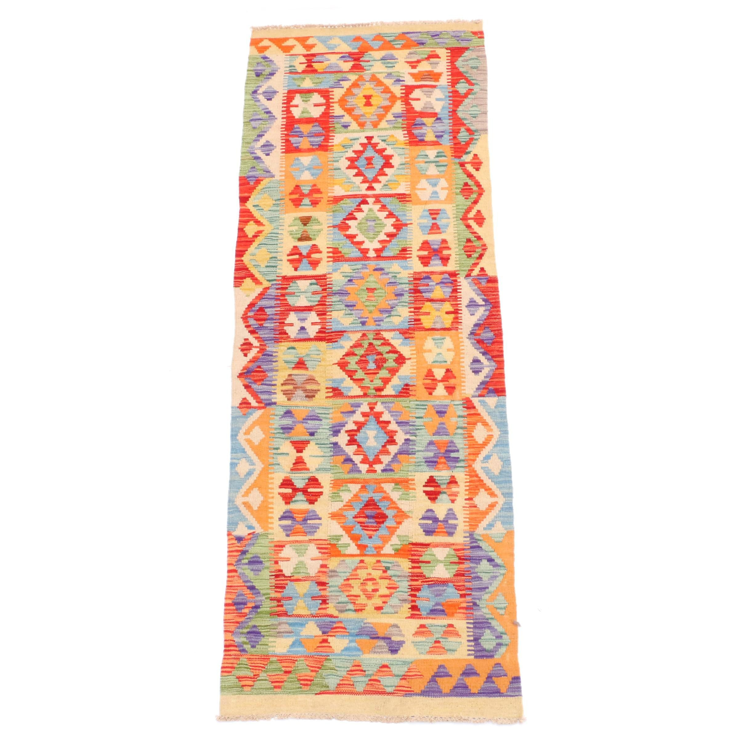 Handwoven Indo-Turkish Wool Kilim Runner
