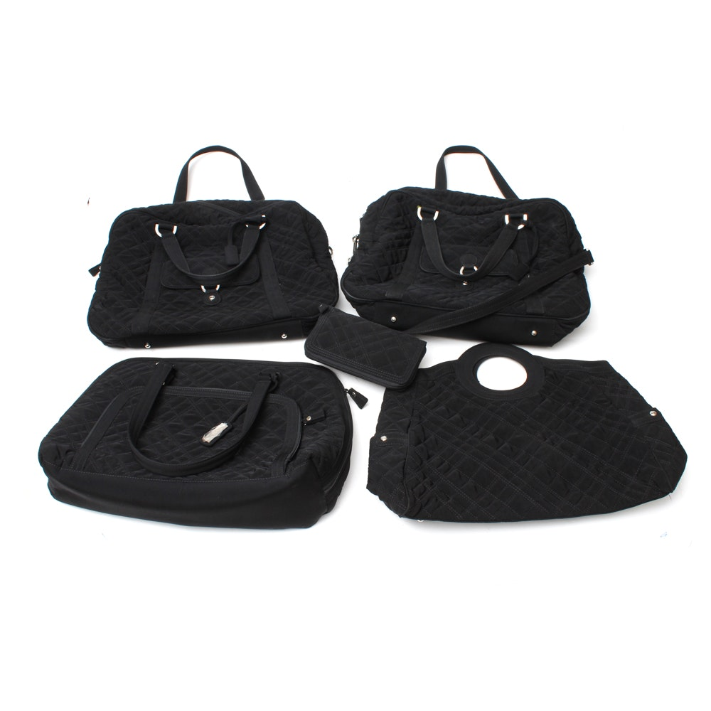 Four Black Vera Bradley Travel Bags and Wallet