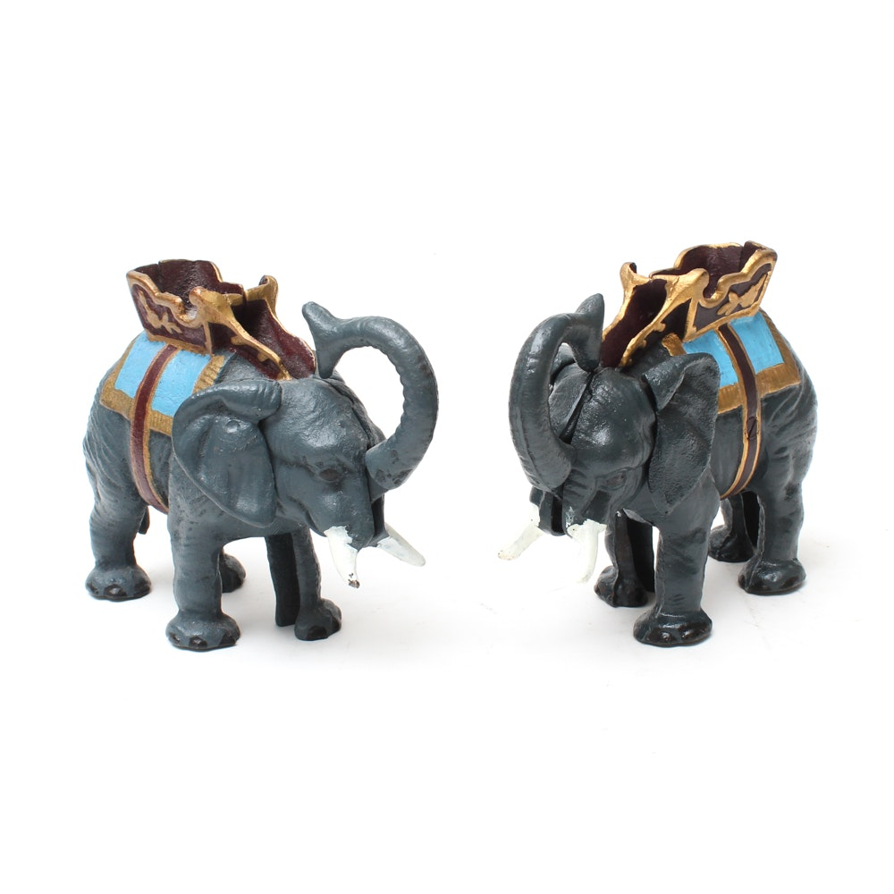 Pair of Cast Iron Elephant Coin Banks