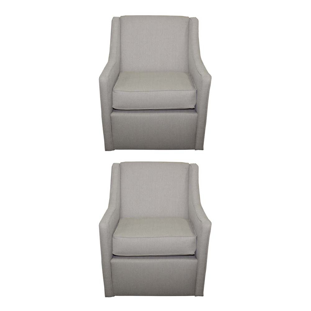 Pair of Taupe Upholstered Swivel Armchairs