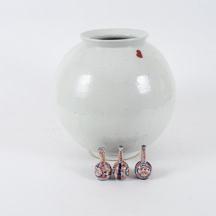 Chinese Ceramic White Monochrome Vase And Meiji Period Imari Vases