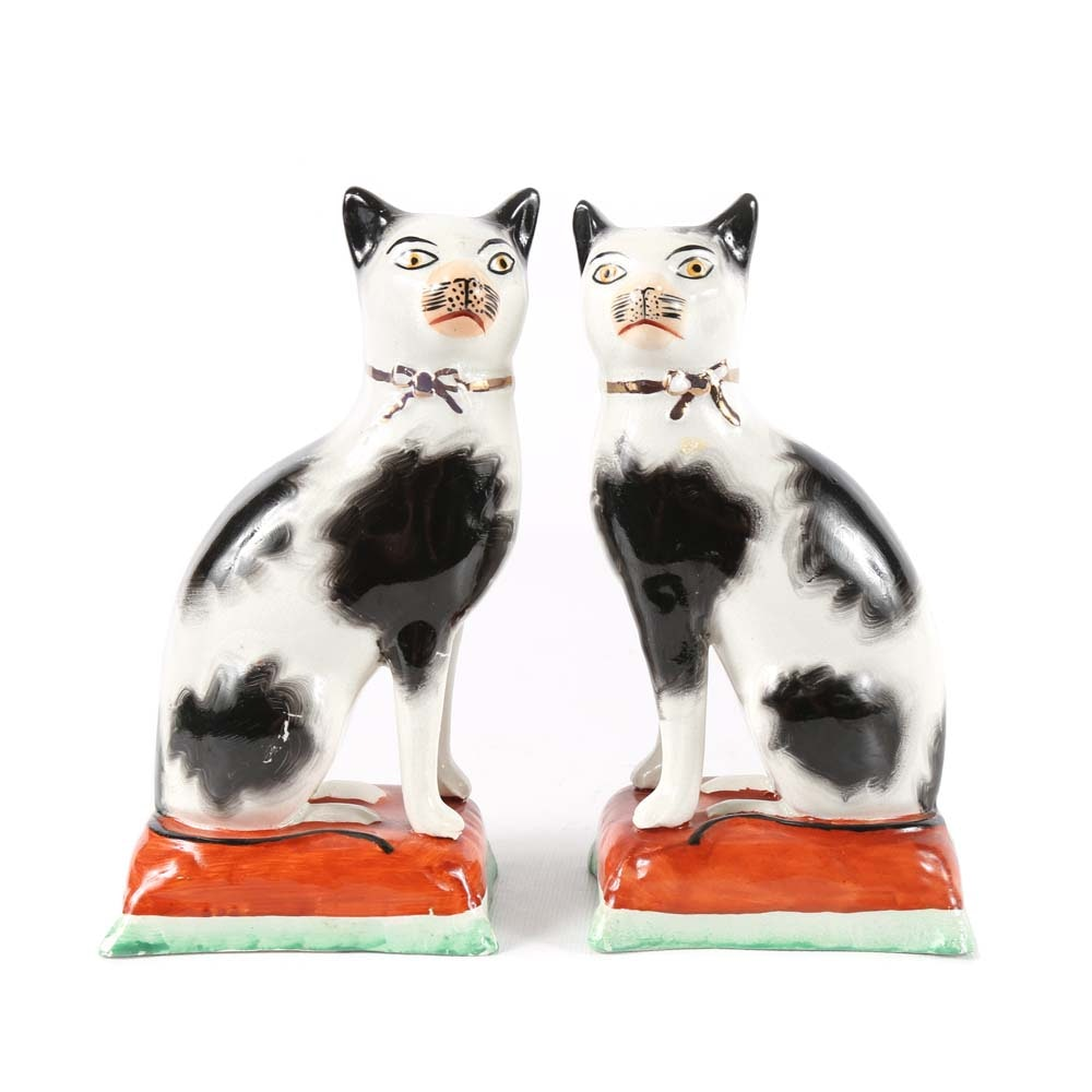 Vintage Staffordshire Style Cats