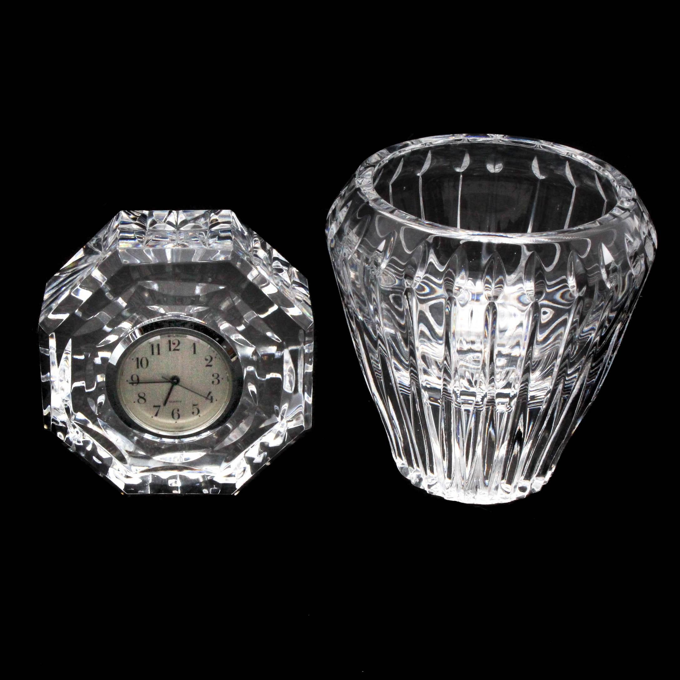 Waterford Crystal Desk Clock and Block Votive Holder