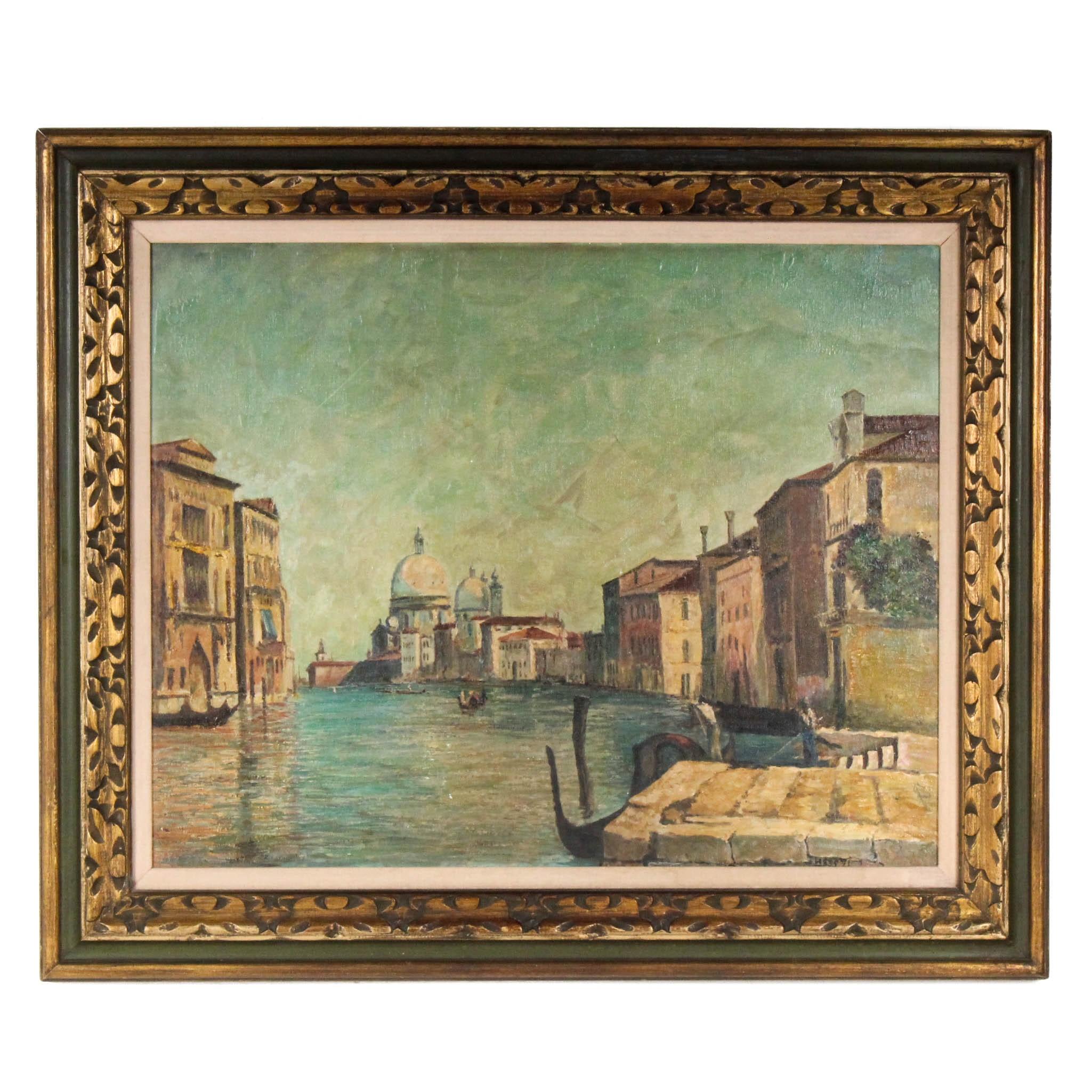 Hess 20th Century Oil Venetian Street Scene