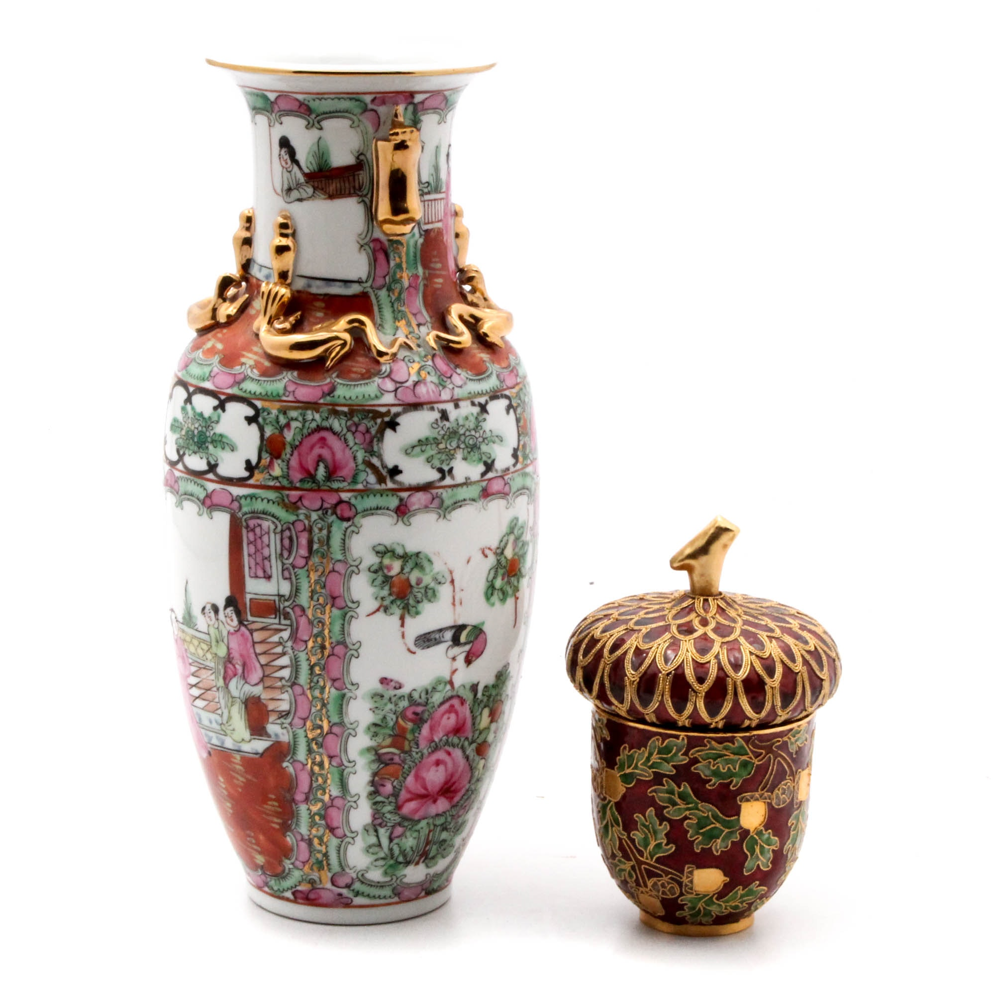 "Cloisonné Acorn Trinket Box and Chinese ""Rose Medallion"" Porcelain Vase"
